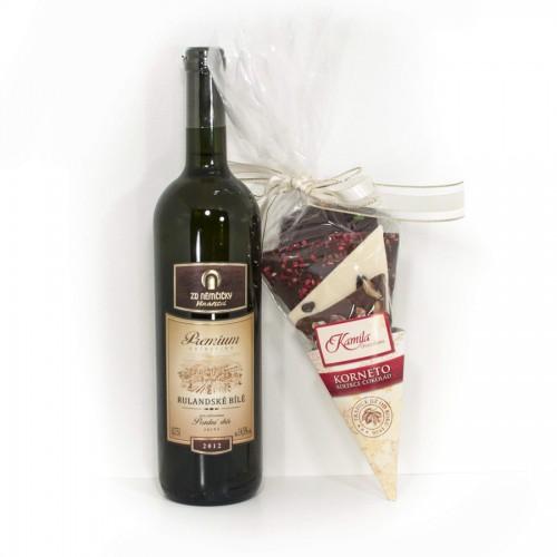 Přívlastkové víno a směs lámaných čokolád 200g