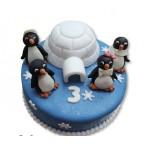 Dětský dort s tučňáky