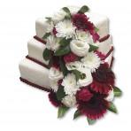 Svatební dort - Třípatrový čtvercový s živými květy