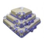 Svatební dort - Třípatrový čtvercový s kytičkami