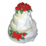 Svatební dort - Čtyřpatrový s růžemi