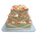 Svatební dort - Třípatrový vyšší čvercový s okvětními lístky