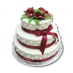 Svatební dort - Třípatrový s vínovými kalami