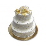 Svatební dort - Třípatrový zlato-bílý s vyššími patry a kalami