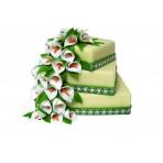 Svatební dort - Třípatrový čtvercový s kaskádou z bílých kal