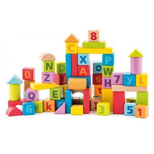 Woody dřevěné pastelové kostky s písmeny a číslicemi