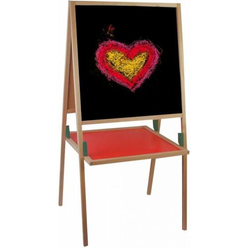 Školní pomůcky - Dětská tabule natur rám s poličkou