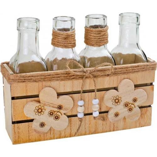 Bytové dekorace - Sada váz v dřevěném boxu