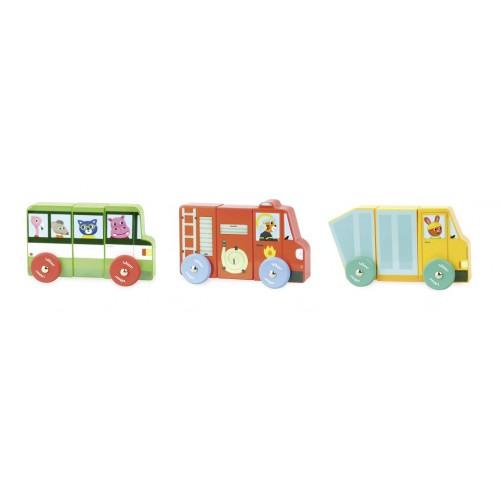 Dřevěná hračka Vilac - Magnetická nákladní auta