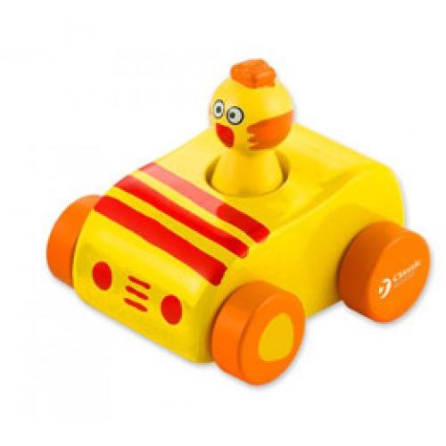 Dřevěné hračky - Dřevěné pískající auto s kuřátkem