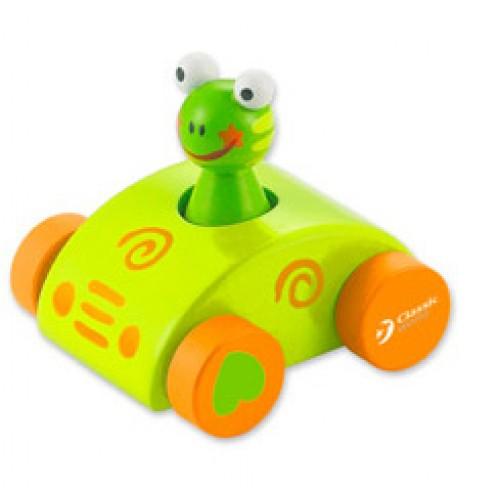 Dřevěné hračky - Dřevěné pískající auto s žabkou