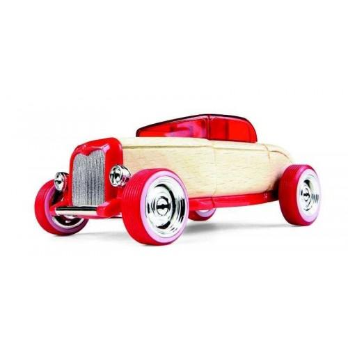 AUTOMOBLOX - Dřevěné auto - HR1 červený Hot Rod