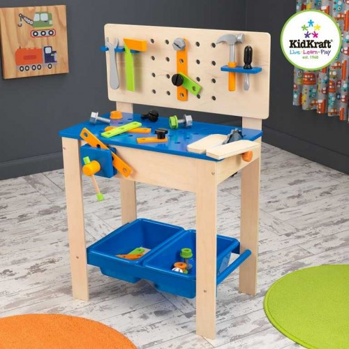 Dřevěné hračky - KidKraft pracovní stůl - Ponk s nářadím