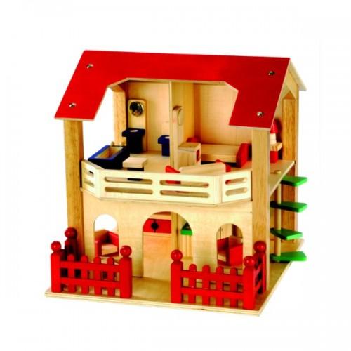 Dřevěné hračky Bino - Domeček pro panenky s vybavením