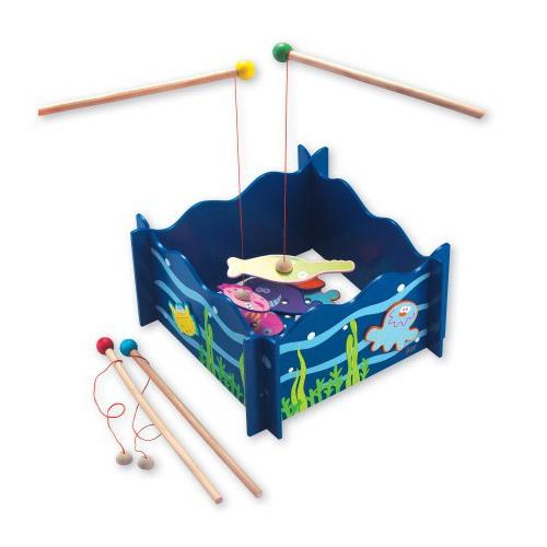 Dřevěné hračky - Dřevěná motorická magnetická hra - rybolov