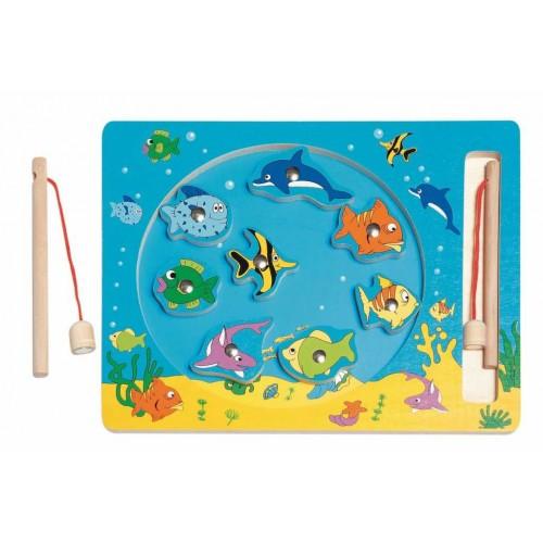Dřevěné hračky Woody - Kruh Rybolov - magnetická hra