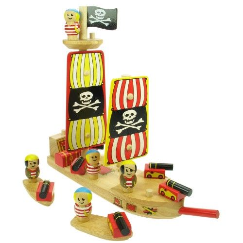 Dřevěné hračky - Pirátská loď se dvěma čluny a piráty