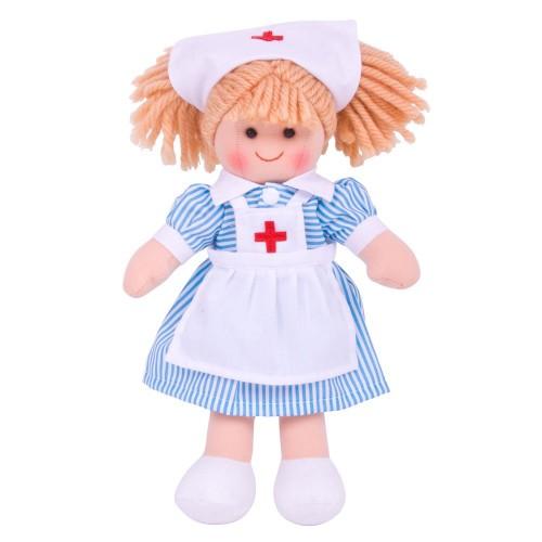 Bigjigs Toys látková panenka zdravotní sestřička Nancy 25 cm