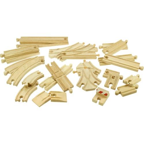 Dřevěné koleje vláčkodráhy Bigjigs - Set 25 dílů