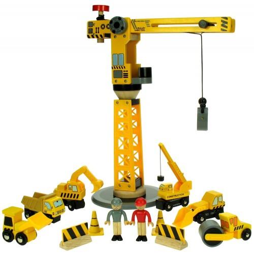 Dřevěné příslušenství vláčkodráhy - Jeřáb a stavební stroje