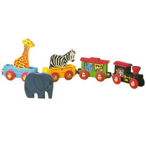 Dřevěné hračky - Dřevěný vláček ZOO k vláčkodráze