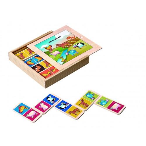 Dřevěná hra Domino domácí zvířátka