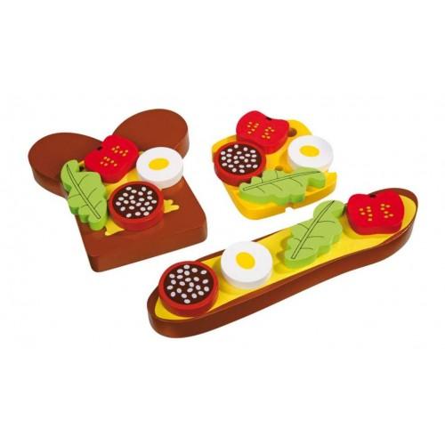 Dřevěné hračky - Potraviny dřevěný obložený chleba