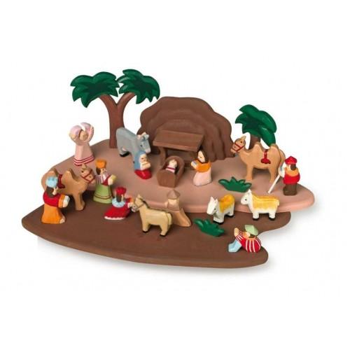 Dřevěné hračky - Dětský dřevěný betlém s figurkami