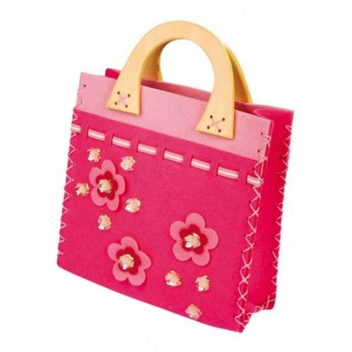 Dětská filcová růžová kabelka
