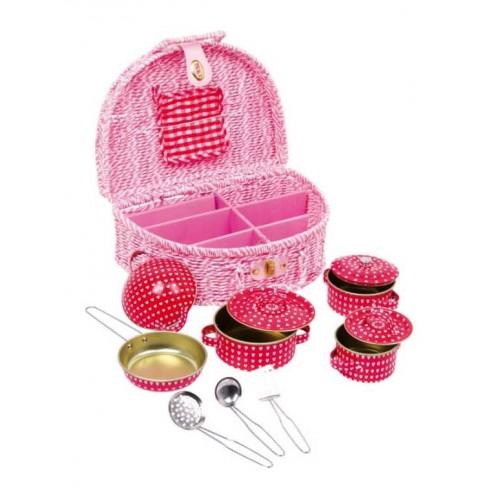 Dětský růžový piknikový koš Emily