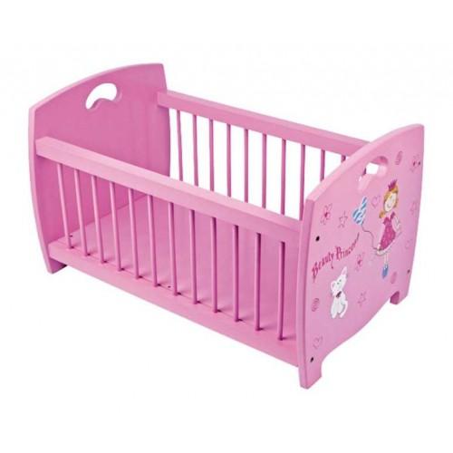 Dřevěná růžová postýlka pro panenky Beauty Princess