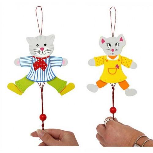 Dřevěné dekorace - Panáci Myš a Kočka