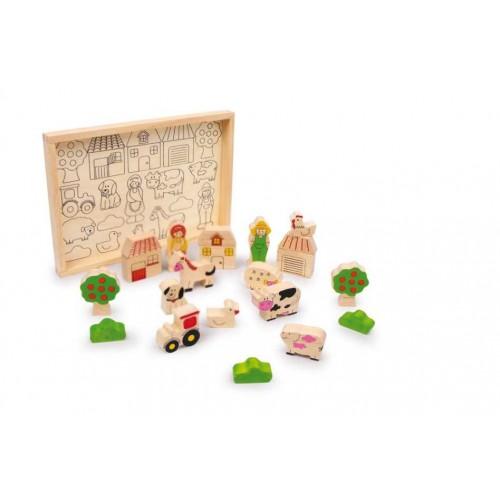 Dřevěné hračky - Dřevěná stavebnice farma