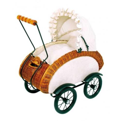 Dřevěné hračky - Proutěný kočárek pro panenky Leonor