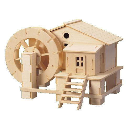 Dřevěné skládačky 3D puzzle slavné budovy - Vodní mlýn P068