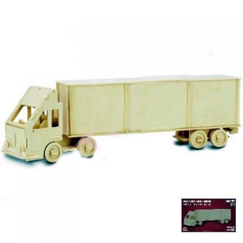 Dřevěné 3D puzzle dřevěná skládačka auta - Kamion TIR P097