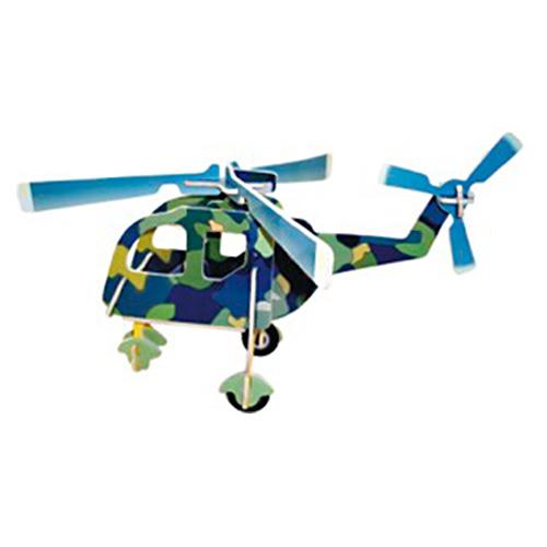 Dřevěné skládačky 3D puzzle letadla - Vrtulník PC001