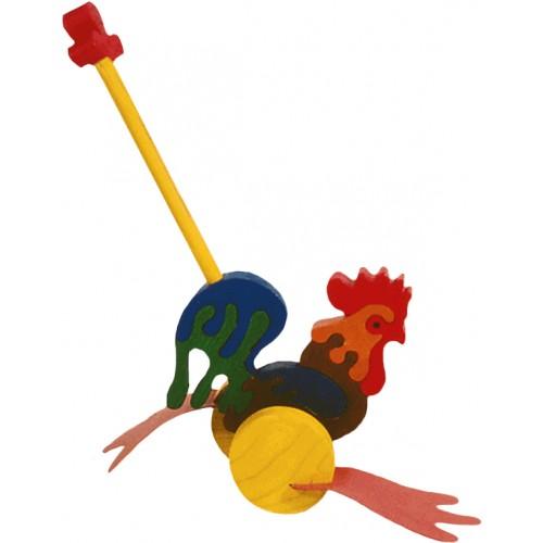 Dřevěné tahací hračky - plácačka - Kohout