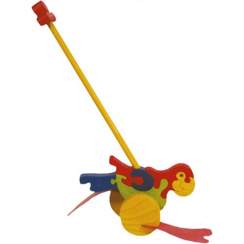 Dřevěné tahací hračky - plácačka - Papoušek