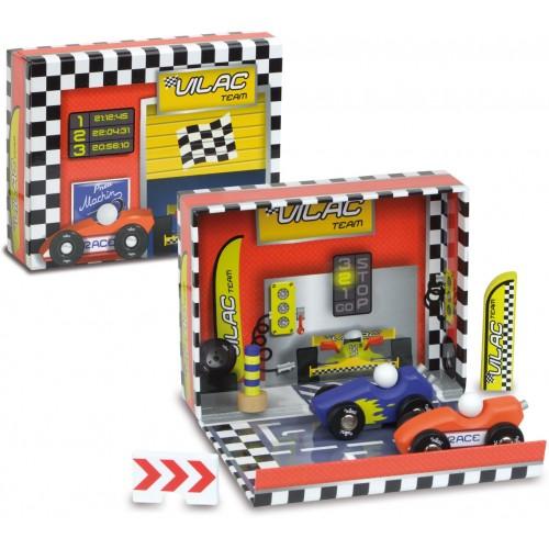 Zábavná hračka Vilac - Box s auty - Závodní dráha