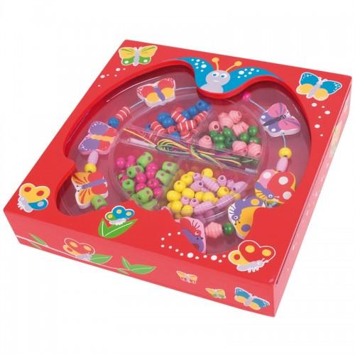 Bigjigs Toys dřevěné navlékací korále v krabičce - Motýlci