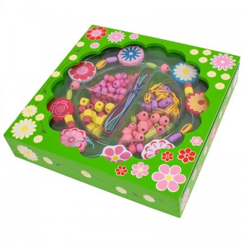 Bigjigs Toys dřevěné navlékací korále v krabičce - Kytičky