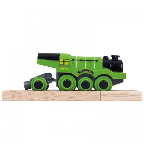 Bigjigs Rail elektrická lokomotiva zelená Flying Scotsman
