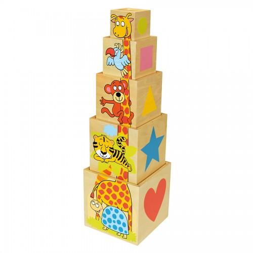 Dřevěné hračky - Vkládání - Pyramida se zvířátky