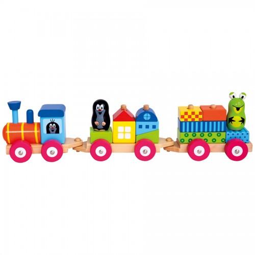 Dřevěné hračky - Vlak s domečky - Krtek