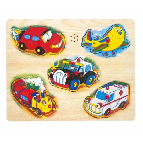 Dřevěné hračky - Hrací puzzle na desce - doprava