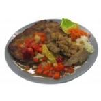 Menu -  Masová směs se zeleninou a kečupem smažené bramboráčky