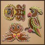 Perníková sada - papoušek, lev, medůza