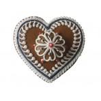Perníkové srdce s květinou