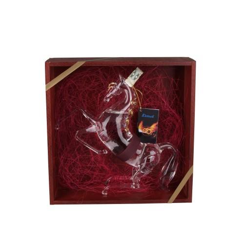 Detesk - Kůň 0,35 l zlacený + dřevěná bedýnka hnědá